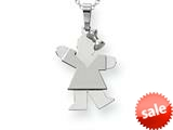 The Kids® Small Girl with Bow on Right Engraveable Charm / Pendant Necklace style: XK307