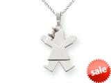 The Kids® Solid Engraveable Girl with Bow on Left Charm / Pendant Necklace style: XK374SS