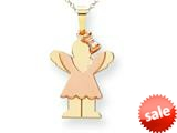The Kids® Small Girl with Bow on Right Engraveable Charm / Pendant Necklace style: XK409