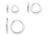14k White Gold Madi K 3-pair Set - Endless Hoop Children Earrings style: SE1292