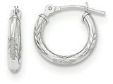 "14k White Gold Bright Cut Laser Cut Children""s Hoop Earrings style: SE2498"