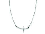 14k White Gold Small Sideways Curved Twist Cross Necklace style: SF2087