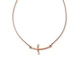 14k Rose Gold Small Sideways Curved Twist Cross Necklace style: SF2088