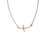 14k Rose Gold Large Sideways Curved Twist Cross Necklace style: SF2091