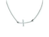 14k White Gold Sideways Curved Textured Cross Necklace style: SF2094