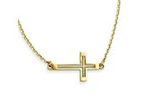 14 kt Yellow Gold Sideways Cut-out Cross Necklace style: SF2096