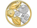 Finejewelers 14k Yellow Gold with Rhodium Shell Cluster In Round Frametwo-color Charm style: SL633