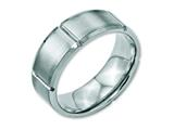 Chisel Stainless Steel Beveled Edge Grooved 8mm Brushed/polished Weeding Band style: SR108