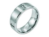 Chisel Stainless Steel Ridged Edge Cross 8mm Brushed And Polished Weeding Band style: SR109