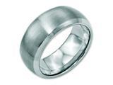 <b>Engravable</b> Chisel Stainless Steel Beveled Edge 10mm Brushed And Polished Wedding Band style: SR111