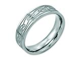 <b>Engravable</b> Chisel Stainless Steel Flat Laser Etched Celtic Knot 6mm Polished Wedding Band style: SR115