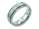 Chisel Stainless Steel Polished/brushed Criss-cross Design 7mm Ridged Edge Wedding Band style: SR116