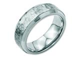 Chisel Stainless Steel Beveled Edge 8mm Hammered And Polished Weeding Band style: SR117