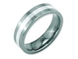 Chisel Stainless Steel Sterling Silver Inlay Flat 6mm Polished Weeding Band style: SR119