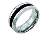 Chisel Stainless Steel Black Enamel 8mm Polished Beveled Edge Weeding Band style: SR122
