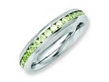 Chisel Stainless Steel 4mm August Light Green CZ Ring style: SR128