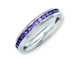 Chisel Stainless Steel 4mm February Purple CZ Ring style: SR131