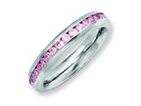 Chisel Stainless Steel 4mm October Pink CZ Ring style: SR138