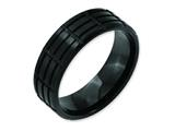<b>Engravable</b> Chisel Stainless Steel 8mm Black Ip-plated Grooved and Brushed Wedding Band style: SR153