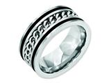 <b>Engravable</b> Chisel Stainless Steel Chain/black Ip-plated Brushed and Polished 10mm Wedding Band style: SR163