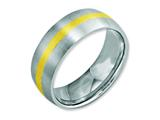 Chisel Stainless Steel 14k Yellow Inlay 8mm Brushed Weeding Band style: SR1