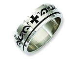 Chisel Stainless Steel Enamel Swirl Design 8mm Brushed/polished Weeding Band style: SR214