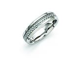 <b>Engravable</b> Chisel Stainless Steel And Grey Carbon Fiber 6mm Polished Wedding Band style: SR257