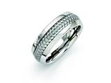 Chisel Stainless Steel And Grey Carbon Fiber 8mm Polished Weeding Band style: SR258