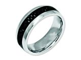 Chisel Stainless Steel And Black Carbon Fiber 8mm Polished Weeding Band style: SR25