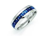 Chisel Stainless Steel Blue Carbon Fiber Inlay Polished Weeding Band style: SR269