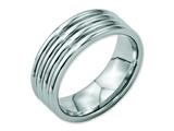 <b>Engravable</b> Chisel Stainless Steel Grooved 8mm Polished Wedding Band style: SR26
