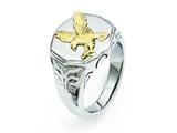 Chisel Stainless Steel Yellow Ip-plated Eagle Polished Ring style: SR295