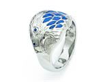 Chisel Stainless Steel Polished Blue Enamel Eagle Ring style: SR296