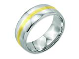 <b>Engravable</b> Chisel Stainless Steel And 14k Yellow Inlay 8mm Polished Wedding Band style: SR2