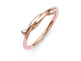 Chisel Stainless Steel Polished Pink Ip-plated Twisted Ring style: SR301
