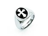 Chisel Stainless Steel Enameled Cross Polished Ring style: SR302