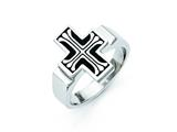 Chisel Stainless Steel Enameled Polished Cross Ring style: SR304