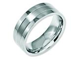 <b>Engravable</b> Chisel Stainless Steel Grooved 8mm Satin And Polished Wedding Band style: SR31