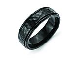 Chisel Stainless Steel 7mm Black Ip-plated Hammered And Polished Weeding Band style: SR333