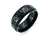 Chisel Stainless Steel 8mm Black Ip-plated Hammered/polished Beveled Edge Weeding Band style: SR334