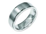 <b>Engravable</b> Chisel Stainless Steel Ridged Edge 7mm Brushed And Polished Wedding Band style: SR33