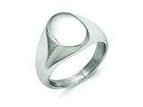 Chisel Stainless Steel Polished Oval Signet Ring style: SR348