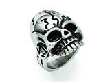 Chisel Stainless Steel Polished And Antiqued Skull Ring style: SR350