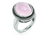 Chisel Stainless Steel Polished And Antiqued Rose Quartz Ring style: SR364