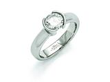 Chisel Stainless Steel Polished CZ Ring style: SR366