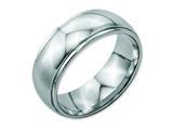 <b>Engravable</b> Chisel Stainless Steel Ridged Edge 8mm Polished Wedding Band style: SR36