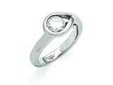 Chisel Stainless Steel Polished CZ Ring style: SR370
