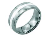 Chisel Stainless Steel Sterling Silver Inlay 8mm Polished Weeding Band style: SR38