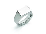 <b>Engravable</b> Chisel Stainless Steel Polished And Brushed Signet Ring style: SR392