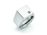 <b>Engravable</b> Chisel Stainless Steel Polished CZ Signet Ring style: SR393